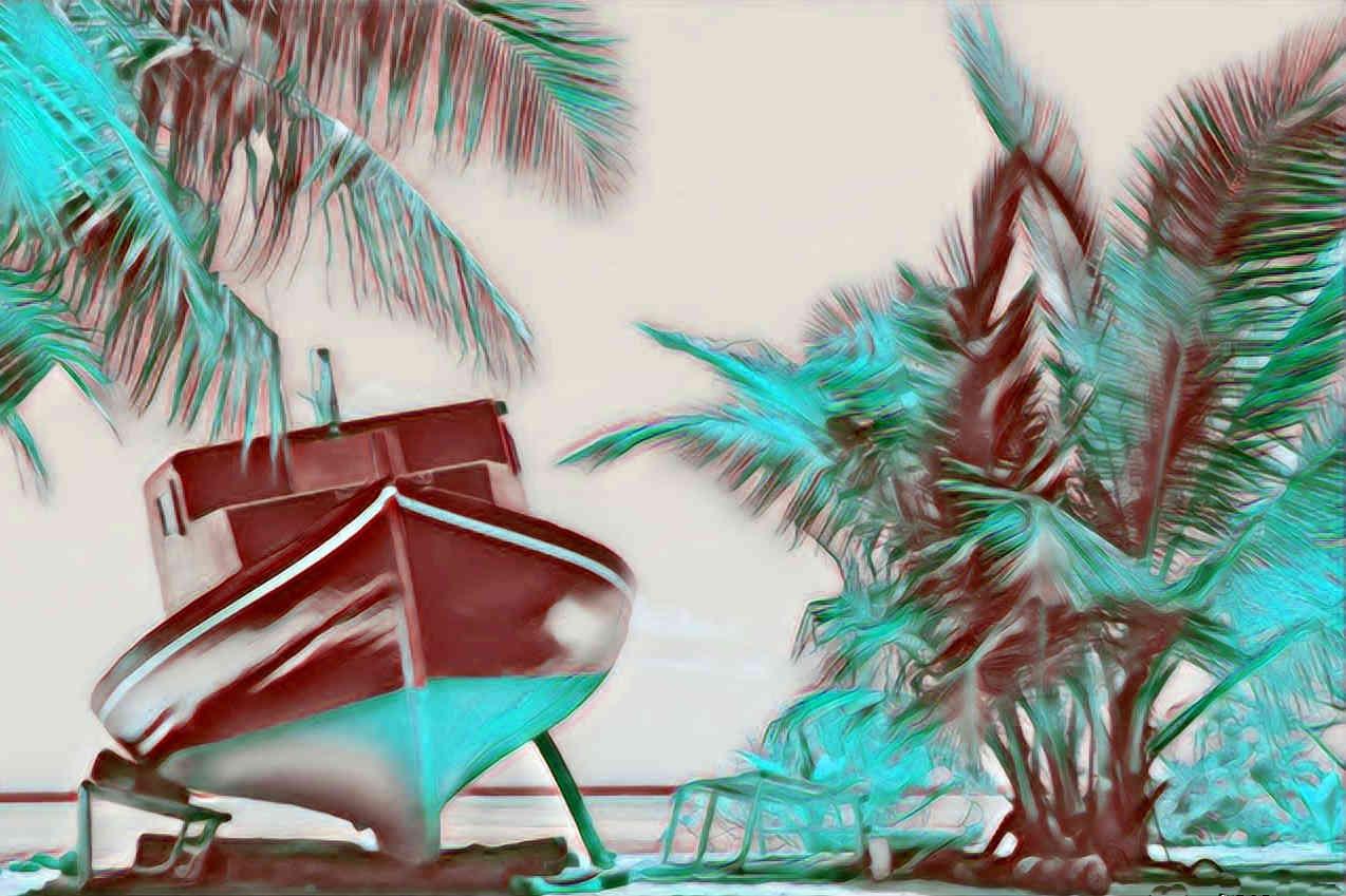 Barco varado en playa paradisiaca simbolizando que has cumplido los objetivos de tu Vida gracias a que has ido realizando pequeños ajustes de timón diariamente