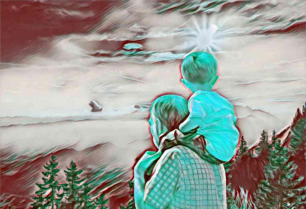 un abuelo y un niño, que ilustran este cuento llamado el abuelo y el nieto, que versa sobre la Vida
