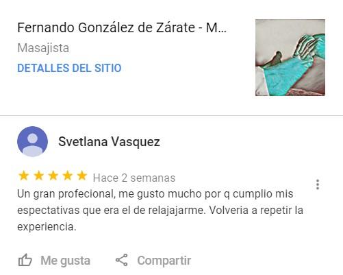 Testimonio de Clientes en Google sobre el Masaje Antiestrés de Fernando González de Zárate Alonso, en Vitoria