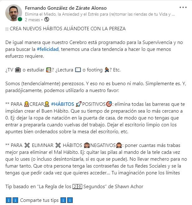 Imagen con el texto publicado en el LinkedIn de Fernando González de Zárate Alonso en el que reflexiona sobre la posibilidad de crear Hábitos Saludables utilizando la Pereza como motor